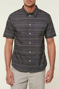 O-039-Neill-BAIT-Mens-Button-Front-100-Cotton-Short-Sleeve-Shirt-Large-Asphalt-NEW