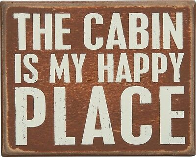"""NEW!~PRIMITIVE WOOD BOX SIGN~/""""The Cabin Is My Happy Place/""""~Woodsy//Camp//Plaque"""