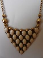 Lucky Brand Gold Tone White Cabochon Stone Bib Necklace  MSRP $65