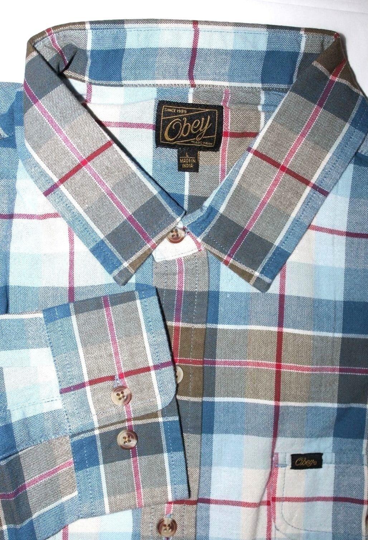 Obey  Uomo  L  Nwt  Plaid MultiColoreee 100%  Cotone Tessuto Camicia