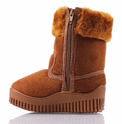 Camel Unisex Cute Zipper Faux Fur Boys Toddlers Kids Girls Winter Boots Size 9
