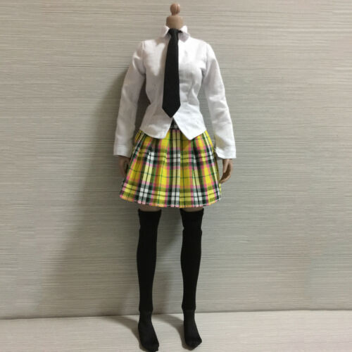 1:6 Action Figure Shirt Plaid Pleated Skirt Student Uniform Clothes for Phicen