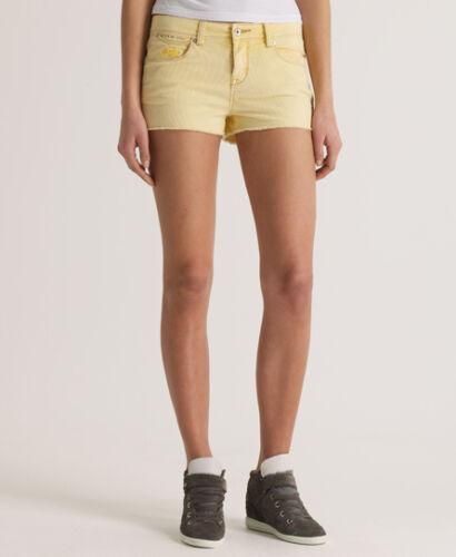 New Womens Superdry Standard Blue Tomboy Cord Shorts Lemon Yellow SVD
