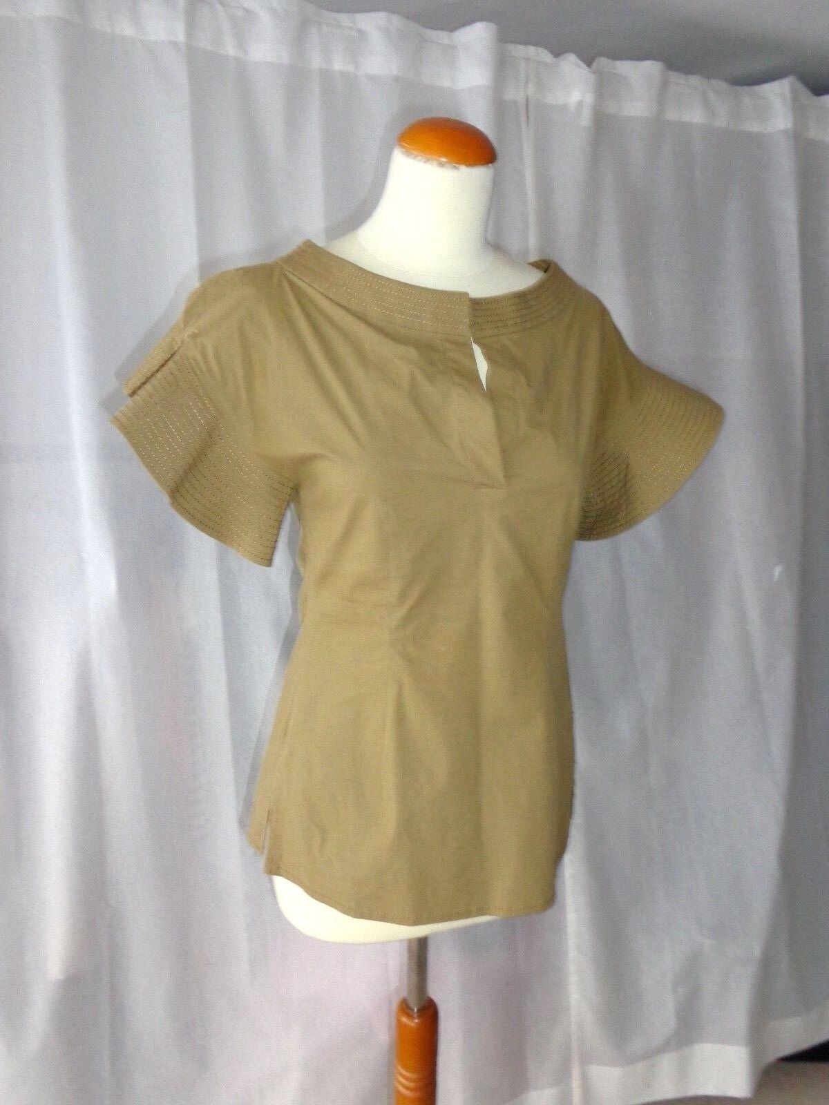Comme neuf  CREAT chemisier SCHUMACHER T 2 36 camicetta Blouse shirt KAKI-DGoldthée