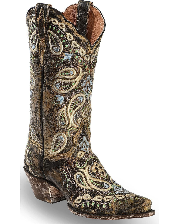 Dan Post Women Paisley Embroidered Western Boot - Snip Toe - DP4023
