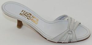 bcb96a8d3 Image is loading Salvatore-Ferragamo-Sign-Womens-White-Leather-Slide-Kitten-
