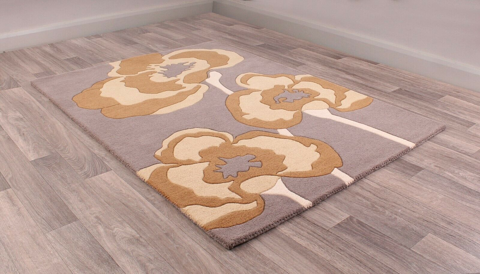 Ultimate Poppie Poppie Poppie grau Ochre Wool Luxurious Floral Poppy Rug in various Größes b842fa