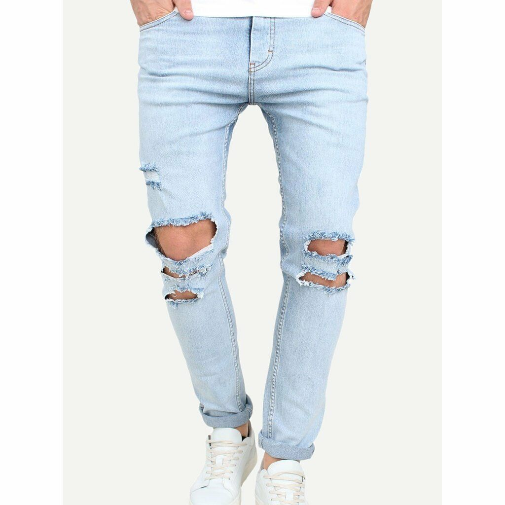 Men Destroyed Rolled Hem Jeans