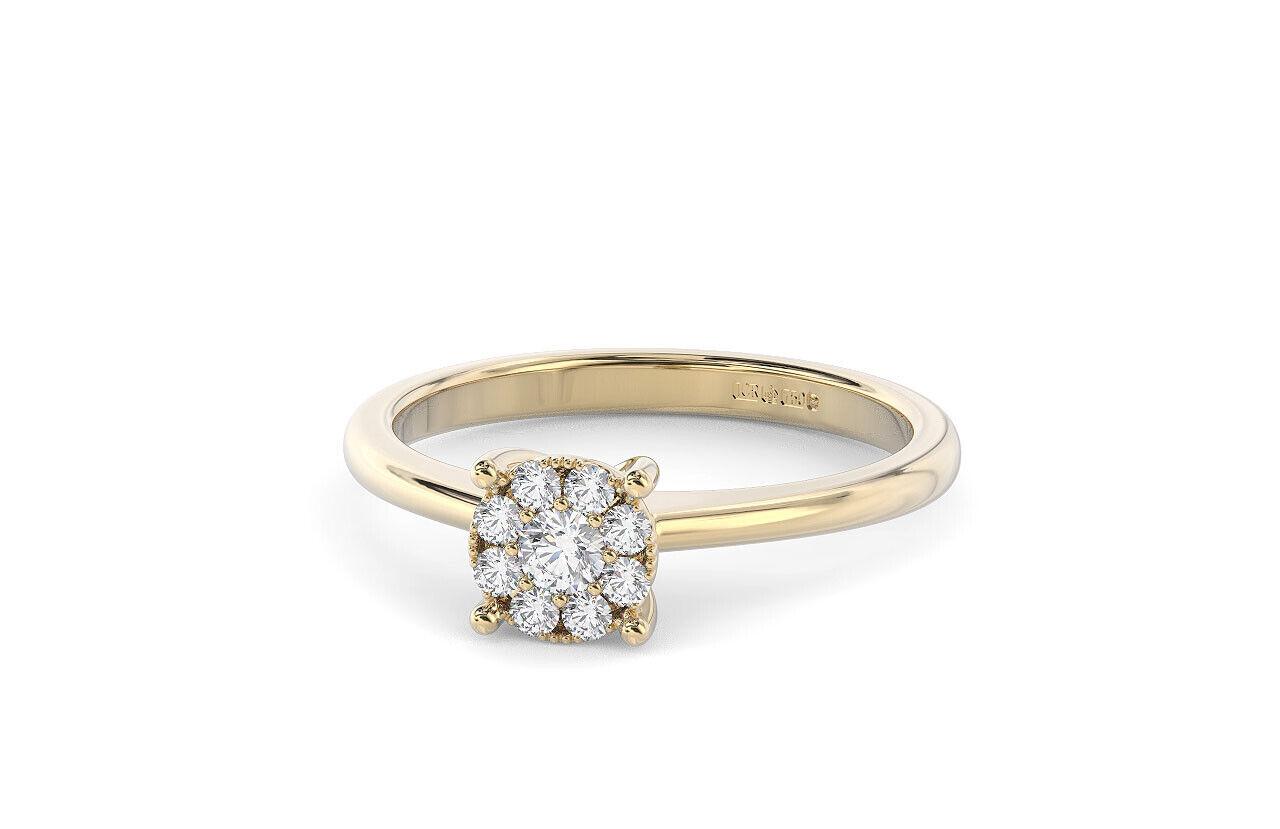 Set di Cluster diamanti taglio brillante rossoondo anello anello anello di fidanzamento 18K BIANCO E GIALLO oro 16b869