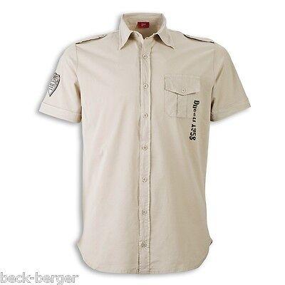 DUCATI RETRO Meccanica Short Sleeve Shirt Shirt beige new