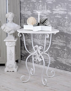 table basse shabby chic table de jardin blanc fer jardin table antique ebay. Black Bedroom Furniture Sets. Home Design Ideas