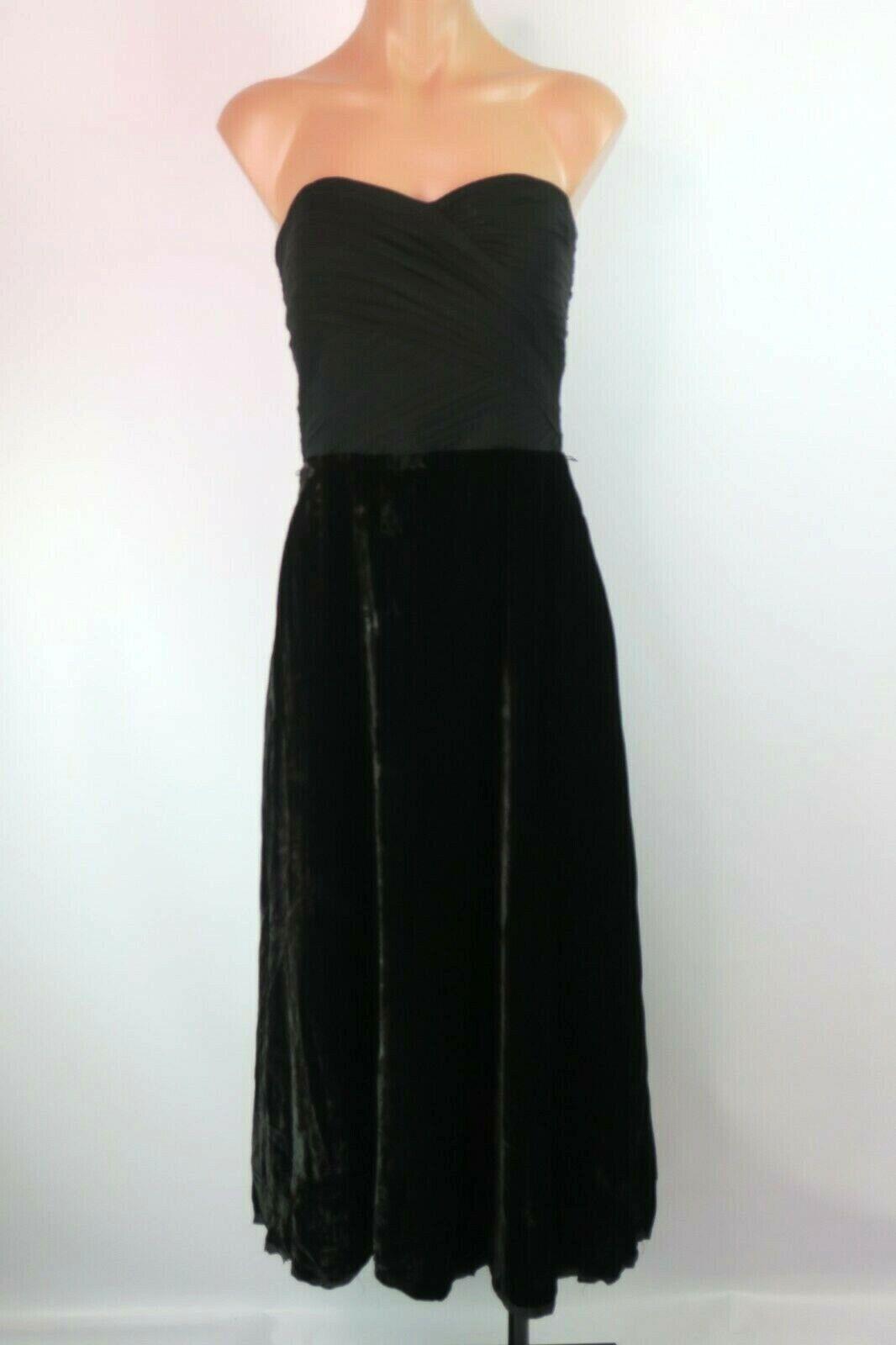 Lauren Ralph Lauren LRL Sz 8 robe velours schwarz de soirée soie mélangée maxi sexy