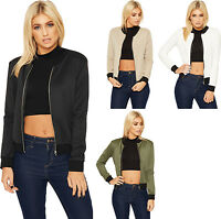New Womens Plain Zip Long Sleeve Stretch Bomber Jacket Ladies Top Coat Blazer