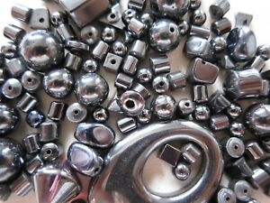 200-x-HEMATITE-GEMSTONE-BEADS-SELECTION-MIX-CRAFTS-JEWELLERY-MAKING-BEADING