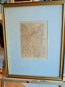 ORIGINAL-ETCHING-OF-ANGEL-BY-N-NADZO-MATTED-AND-FRAMED