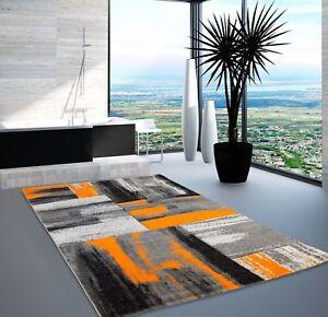 Teppich Modern Designer Wohnzimmer Swing Farbverlauf Orange Grau ... Designer Wohnzimmer Schwarz