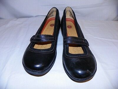 Black Leather Mary Janes Shoes Clarks Unstructured Women's US 6M Casual Career