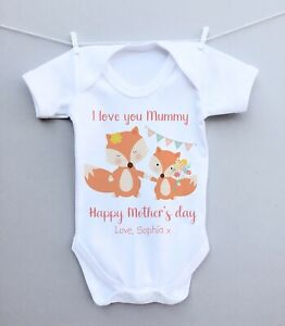 cfdab2a2d6d01 Details about Personalised baby bodysuit vest babygrow 1st Mothers Day gift  pretty fox flowers