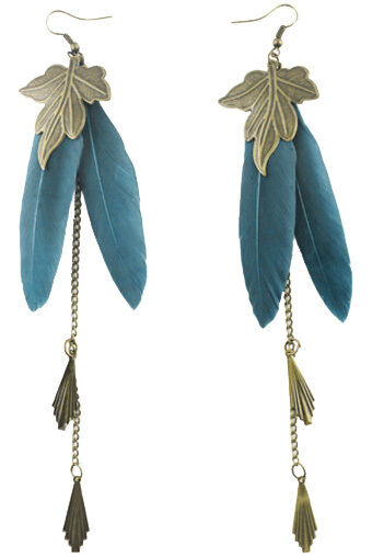 F1896 vogue turquoise Feather bronze leaf chain dangle chandelier cute earrings