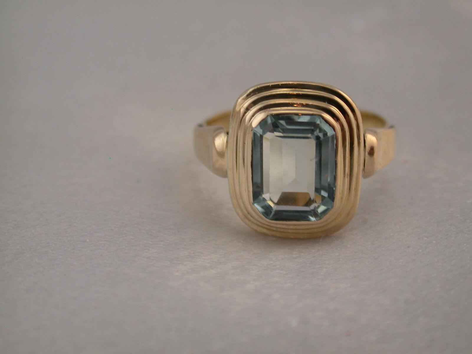 Solitario anello in oro oro oro 750 con Aquamarin circa 2 CT. nel SMERALDO vetro smerigliato cd2eec