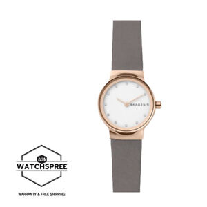 Skagen-Ladies-039-Freja-Grey-Leather-Strap-Watch-SKW2669