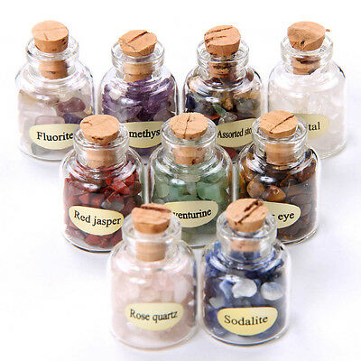 9 Mini Gemstone Bottles Chip Mini Crystal Healing Tumbled Gem Stone Reiki Wicca