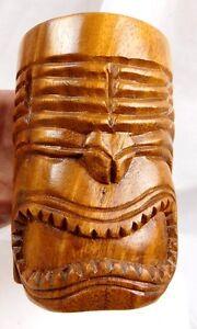 Vintage Solid Hand Carved Wooden Tiki Mug Tropical