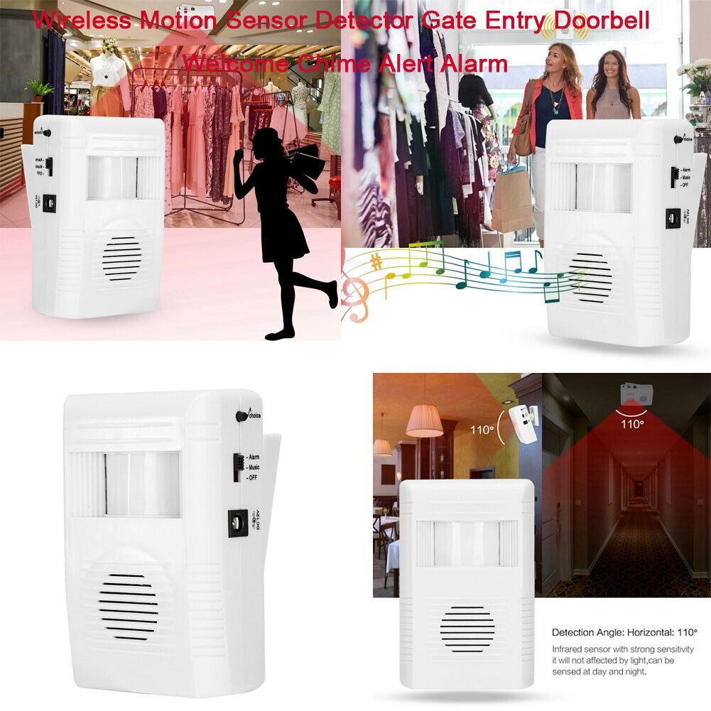 433MHz Wireless Entry Door Bell Welcome Motion Sensor Detector Gate Alert Alarm