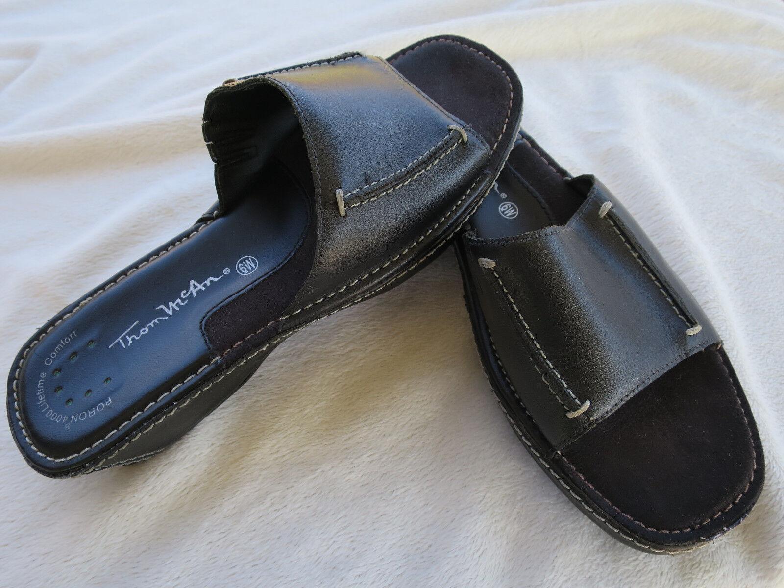 Thom McAn Poron 4000 Comfort Slides Black Leather Slip on Slides Comfort Sandals Shoes Women 6W e3f348