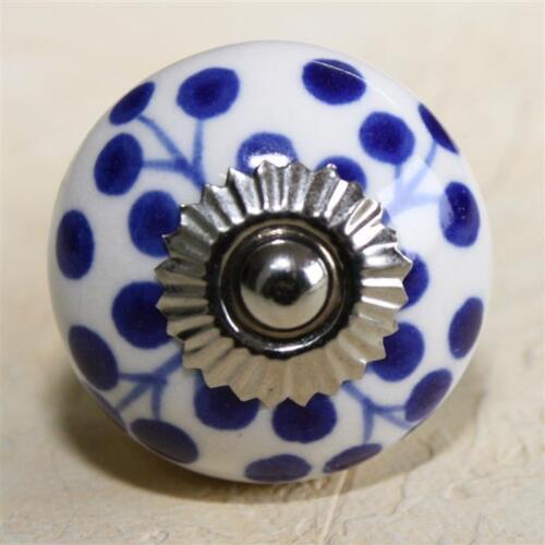 Meubles Bouton Meubles Poignée Meubles Boutons Céramique Mobilier Pommeaux Poignées Bleu Foncé Blanc