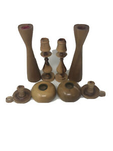 8-Vintage-Wooden-Candle-Sticks-Myrtlewood-Candle-Holders-Ralph-A-Bailey-Nice-EUC