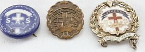 Little-039-s-Cross-And-Crown-System-3-Vintage-Lutheran-Sunday-School-Pins