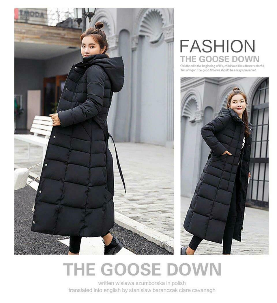 Womens Faux Fur Trim Hooded Padded Maxi Parka Over Knee Winter Coat Long Style