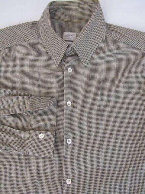 Armani Collezioni Brown Tic Weave Stretch Dress Brown Shirt Size XL
