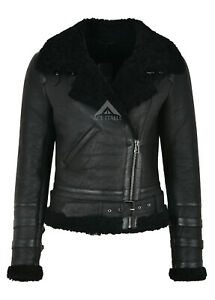 Fur Jacket Laura Biker Real Black Sheepskin Shearling Style Ladies PqUnt6XZxP