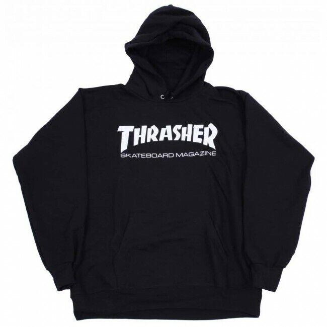 Genuine Thrasher SKATEBOARD MAGAZINE Logo Felpa con cappuccio-nero (Extra Large)
