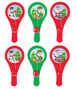 6-Christmas-Plastic-Paddle-Bats-Gift-Party-Kids-Cupcake-Xmas-Stocking-Santa