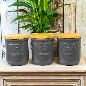 Image Is Loading Dark Grey Otto Tea Coffee Sugar Canisters Kitchen