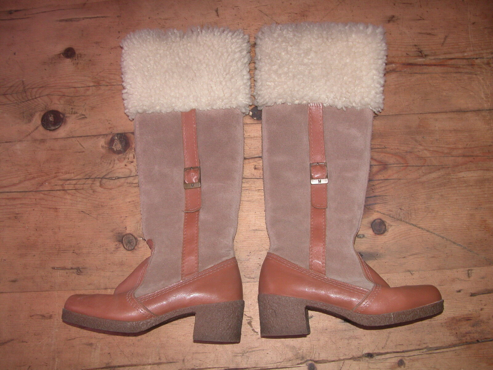VINTAGE 1970'S AUTHENTIC MORLAND BEIGE SUEDE/TAN LEATHER/SHEEPSKIN BOOTS UK 3