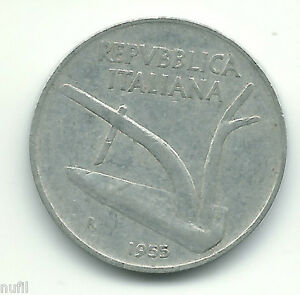 Italien Italien 10 Lira, 1955 Km #93 Um 50 Prozent Reduziert