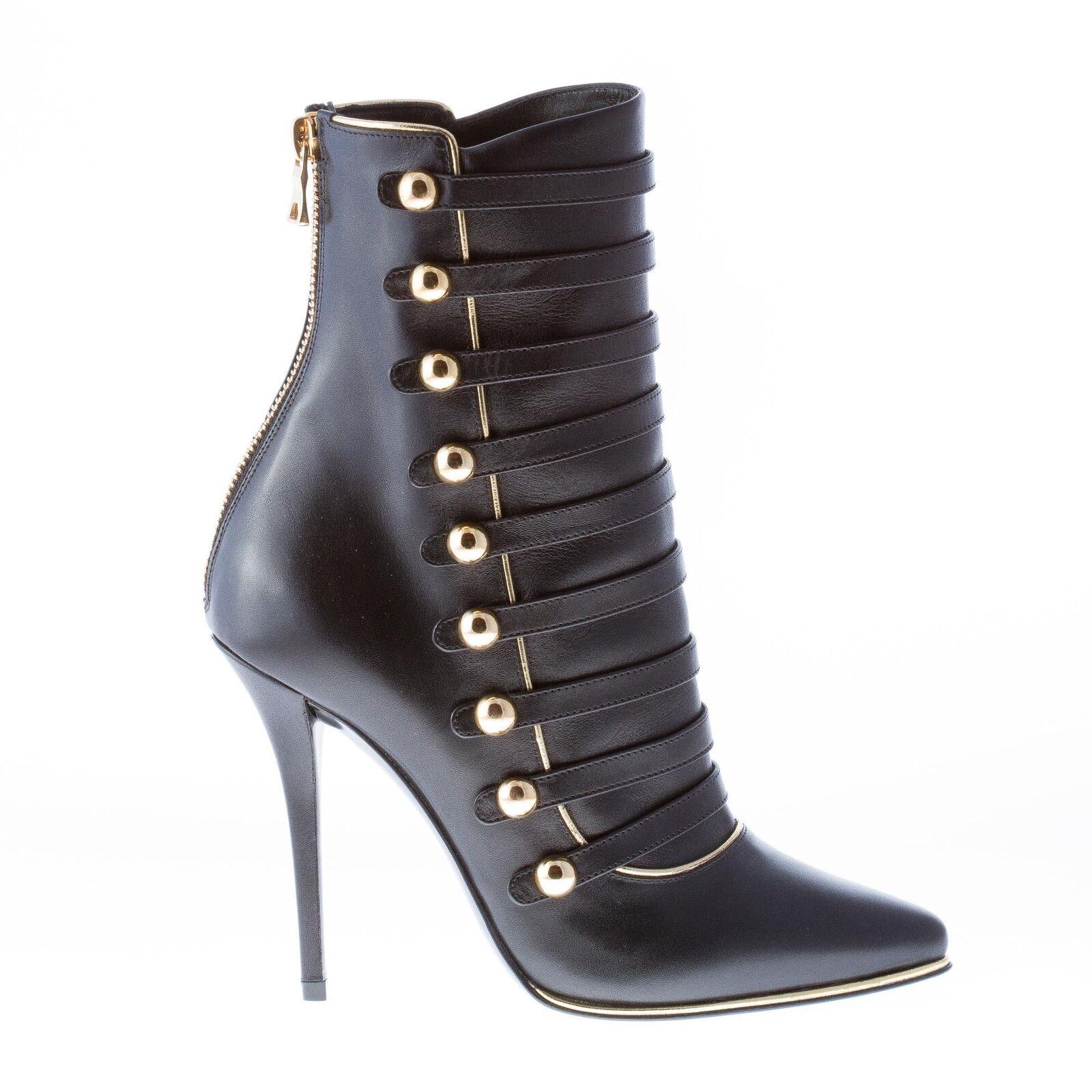 BALMAIN damen schuhe Alienor schwarz polished leather ankle ankle ankle Stiefel Gold studs straps 65823b