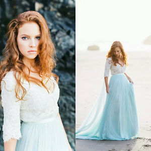 Bohemian-Beach-Bridal-Gowns-Wedding-Dresses-Half-Sleeve-Sheer-V-Neck-Lace-Custom