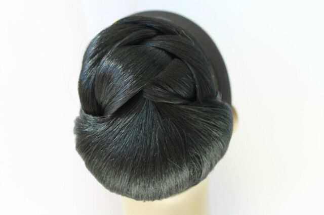 """New 4"""" Straight Blonde Wedding Synthetic Updo ClipIn BUN Dome short Hairpiece"""