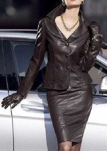 Kvinnor Äkta Lambskin Dress Top kjol Pkonsty Office Wear Coat - LTWD024