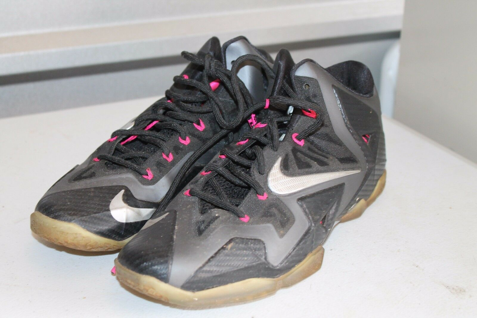 Nike Lebron XI Miami Nights 11 Black Carbon Silver Pink 616175-003 Sz 11