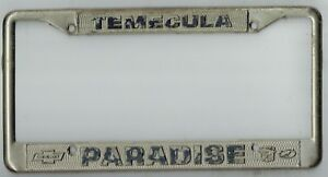 Details About Rare Temecula California Paradise Chevrolet Cadillac Vintage License Plate Frame
