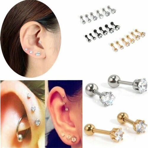 Sterling Silver 925 Womens Earrings Set Rhinestone Crystal Jewel Ear Stud Ladies
