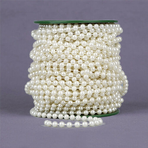25//100M Fake Pearl Chain Beads String Trimmings Party Wedding Ornaments Decor