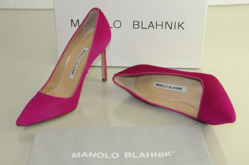 $935 New Manolo Blahnik BB 105 Pink FUXIA Pony Hair Calf Pumps Shoes 36 36.5 37