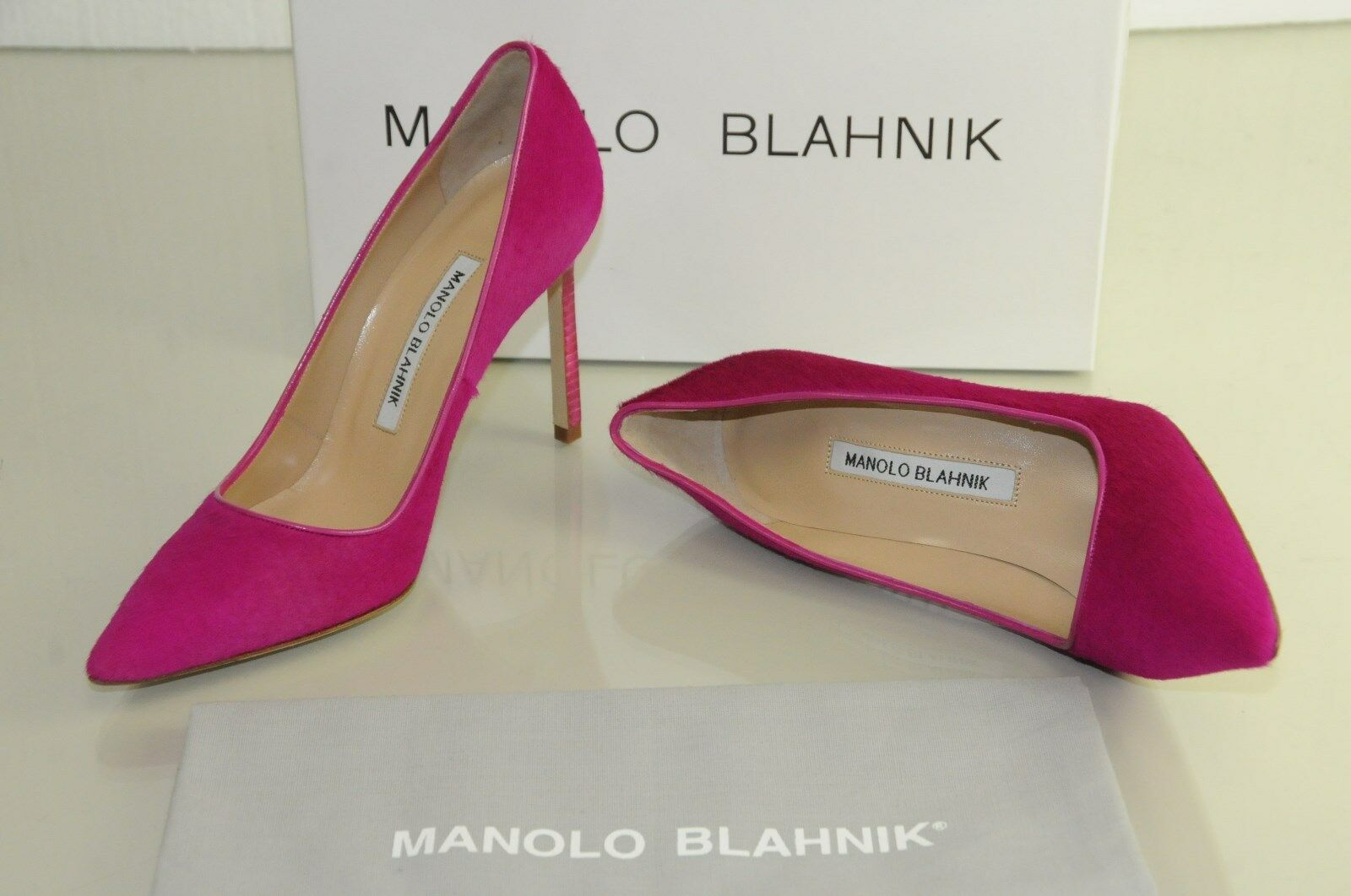 935 New Manolo Blahnik BB 105 Pink FUXIA Pony Hair Calf Pumps shoes 36 36.5 37